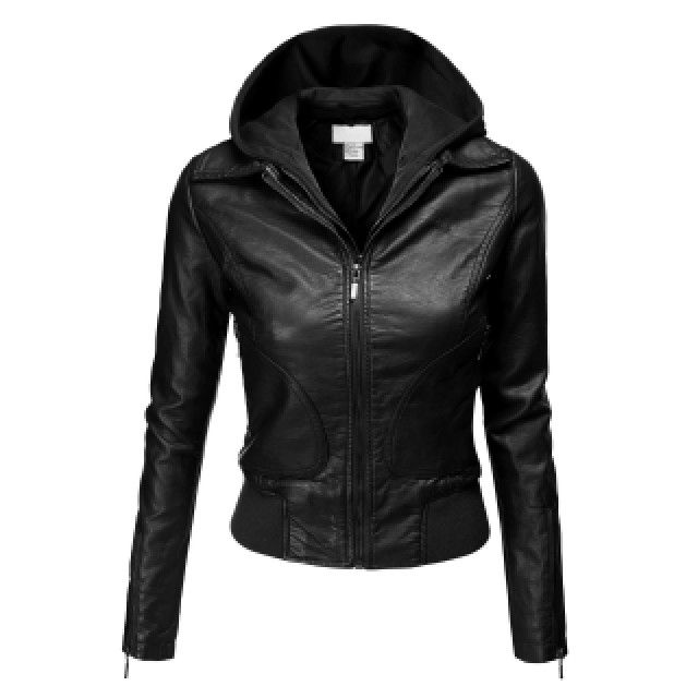 Womens Double Layered Hooded Faux Leather Jacket (AWOJA037)