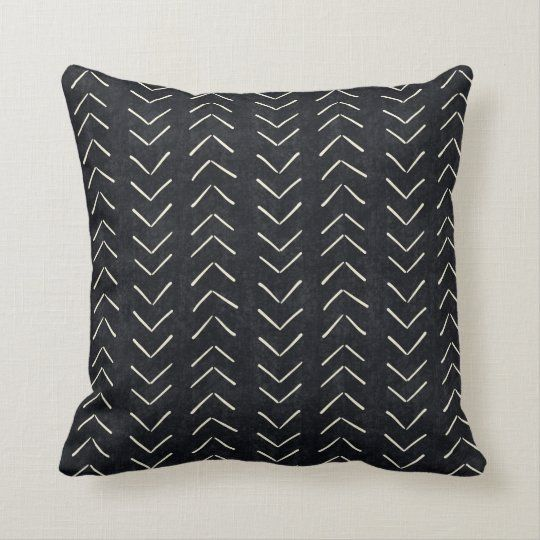 Mud Cloth Big Arrows Black and White Throw Pillow | Zazzle.com