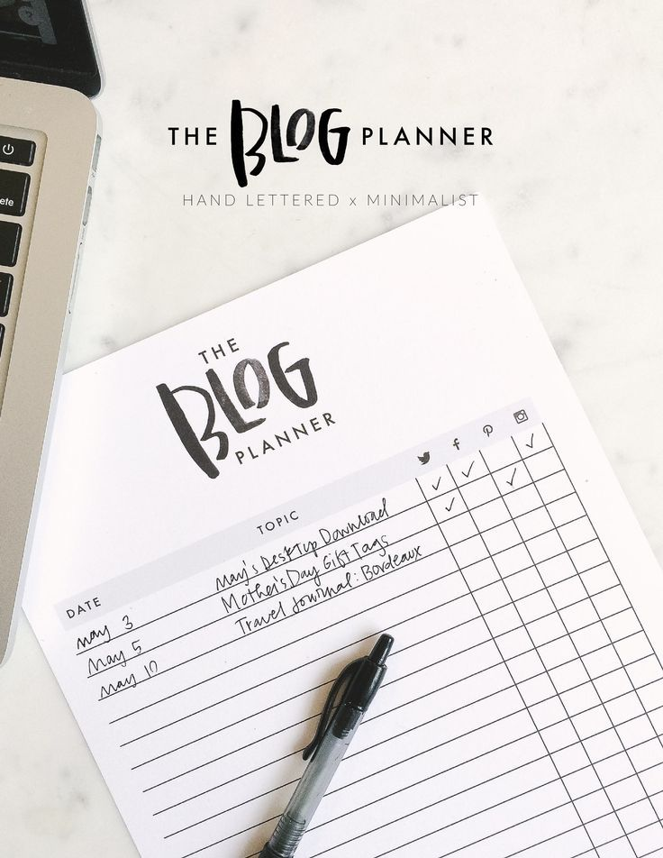 The Blog Planner Minimalist agenda with a hand lettered touch - agenda outline