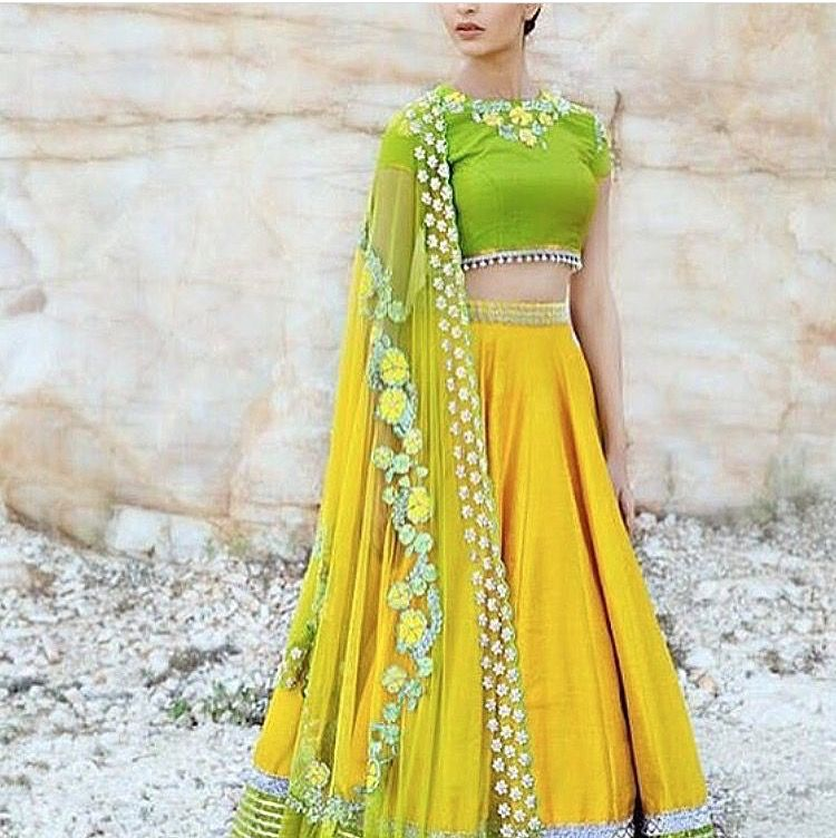 Perfect colour yellow and green lehenga with floral 3d work