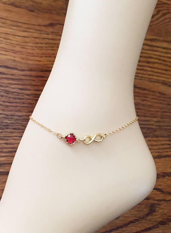 54c23ba3d36 Gold Infinity Anklet - Ruby Red Ankle Bracelet - Gold Filled Chain ...