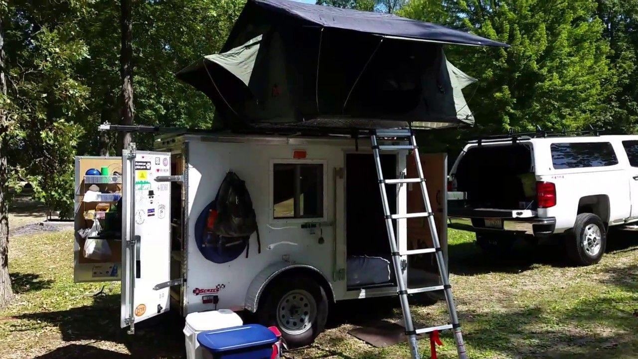 5x8 Cargo Trailer Camper Conversion With Tepui Rooftop Tent Youtube Cargo Trailer Camper Cargo Trailer Camper Conversion Cargo Trailers