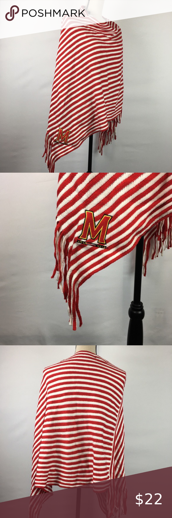 University Of Maryland College Poncho In 2020 Clothes Design Red And White Stripes Fashion Design