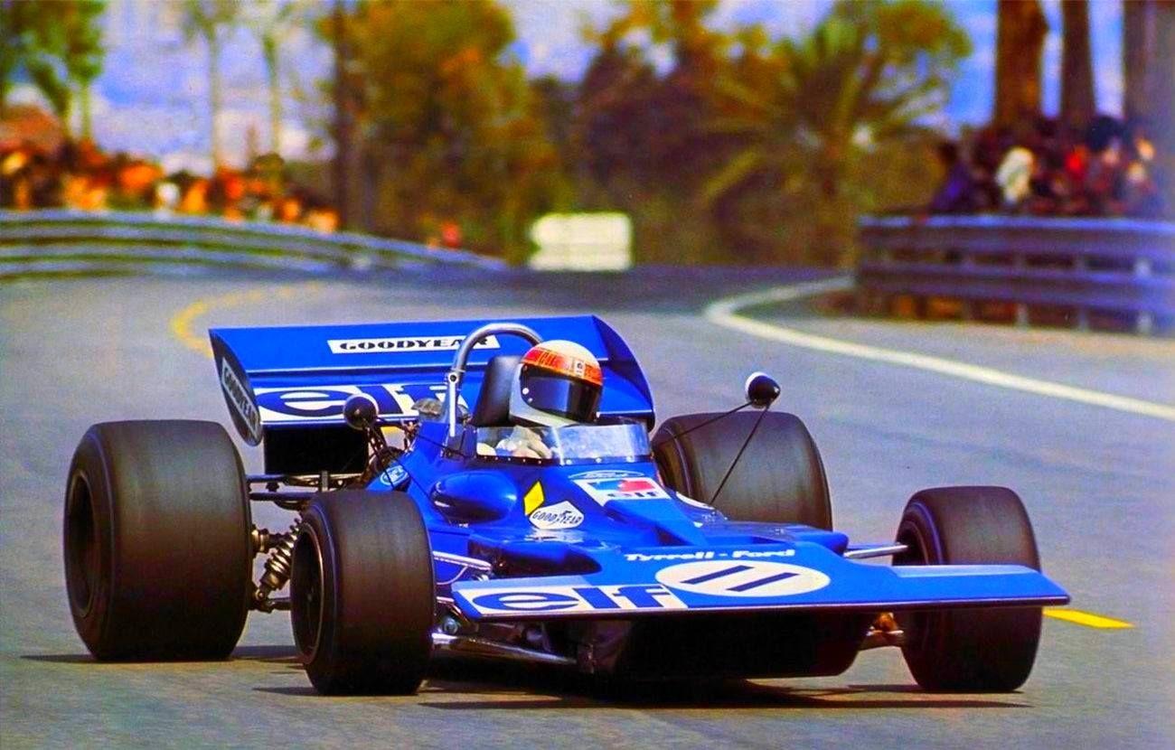 Jackie Stewart, Tyrrell 001 Ford (practices) at Montjuïc Park 1971