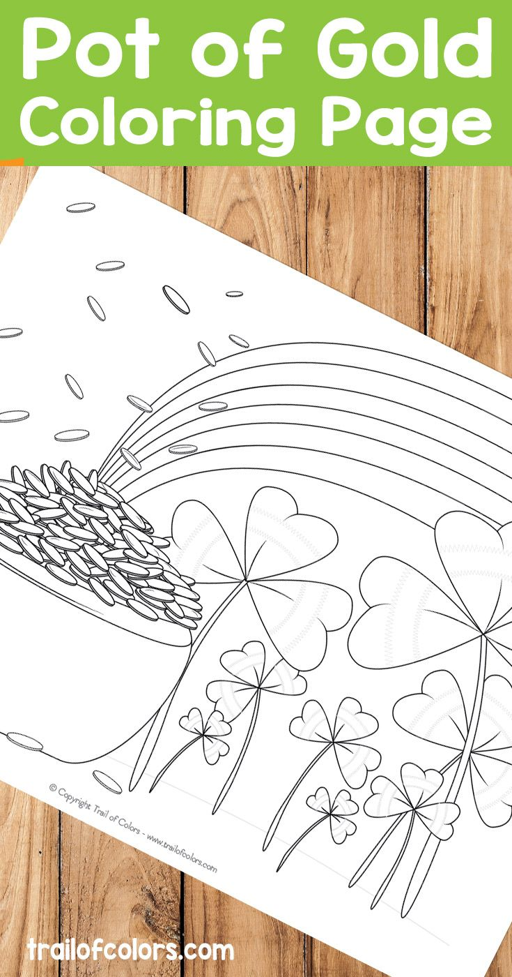 Free Pot of Gold Coloring Page for Kids | Parents