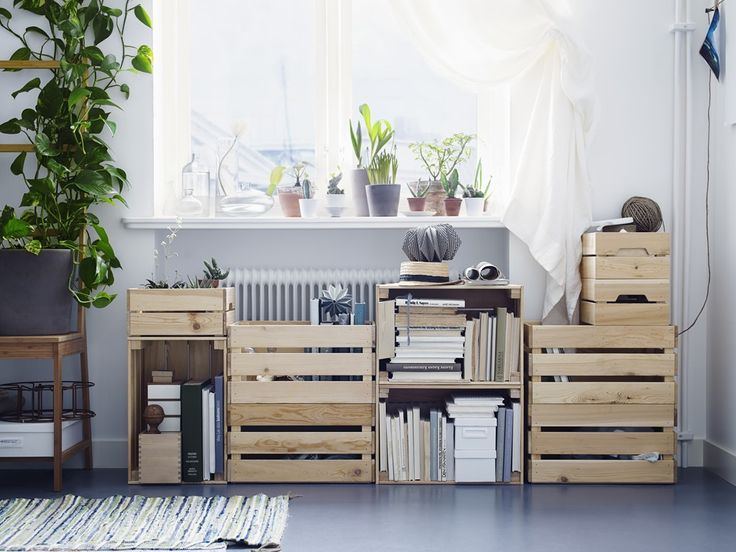 Küchenregal Ikea ~ Ikea knagglig crates for shelving in light bedroom styling a