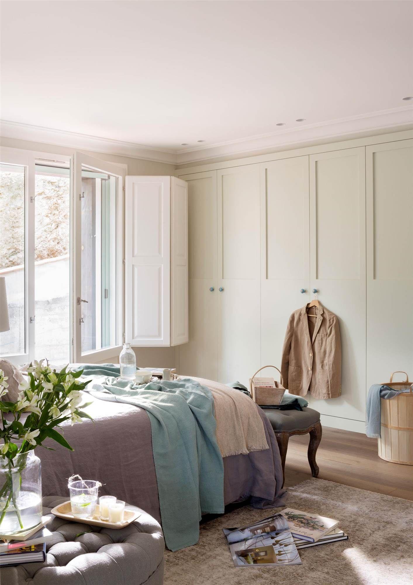 Blanco con una pizca de verde decoraci n dormitorios - Armario dormitorio blanco ...