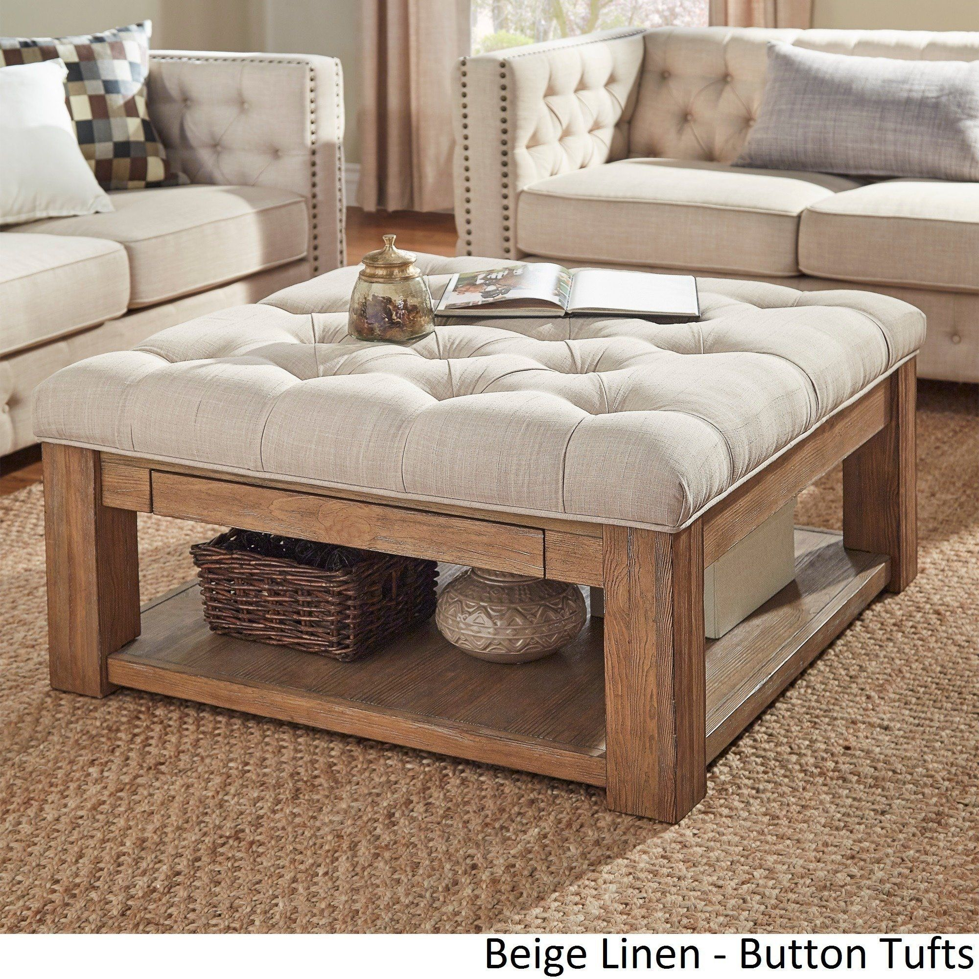 Lennon Pine Square Storage Ottoman Coffee Table by iNSPIRE