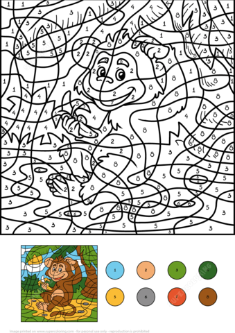 Monkey Animal with a Banana Color by Number coloring page