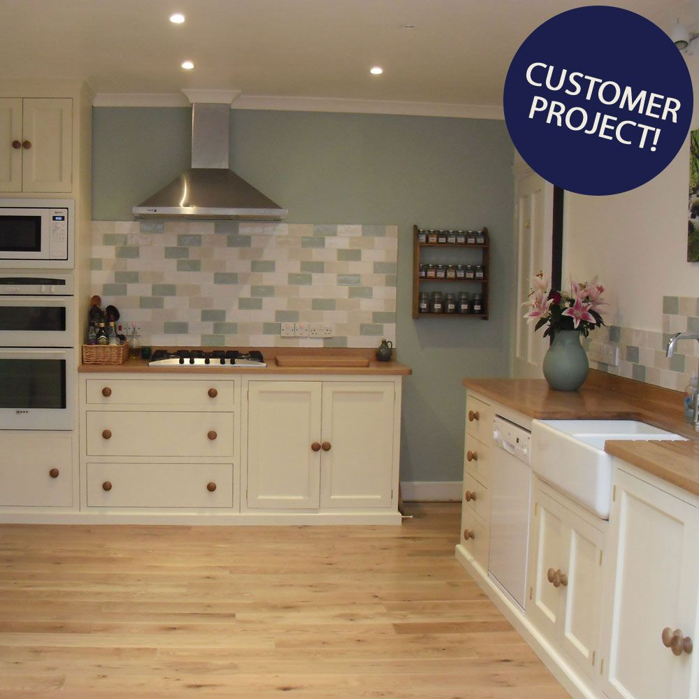 Eton Gloss Tile Walls And Floors White Kitchen Wooden Worktops Kitchen Tiles Cream Kitchen Tiles