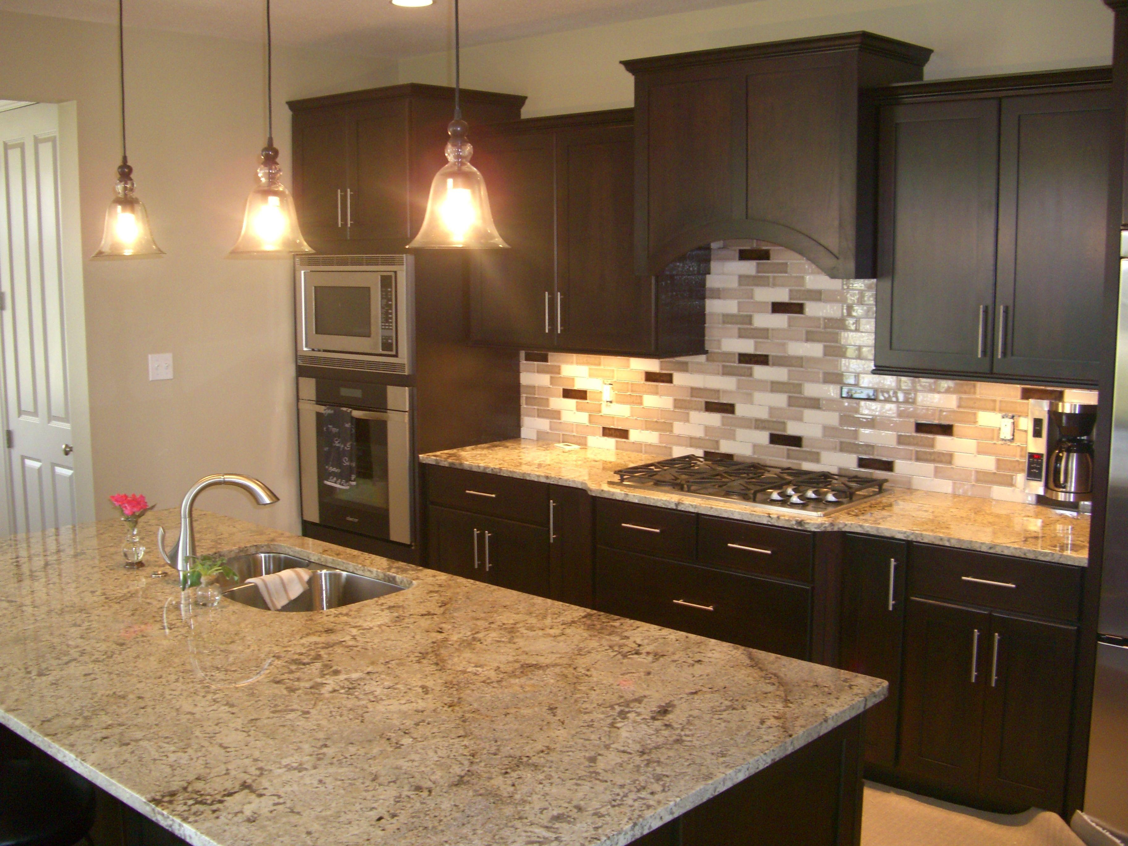 Kitchen Stone Backsplash Ideas With Dark Cabinets Tuscan