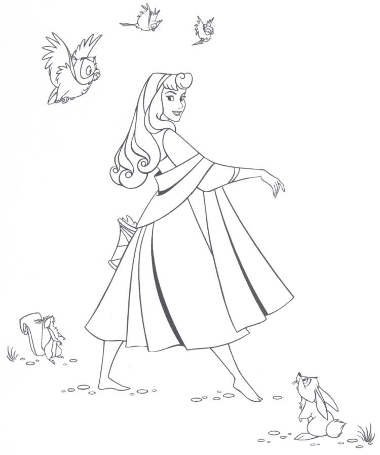 The Beauty Aurora With Animal Friends Coloring Pages Cartoon Coloring Pages Sleeping Beauty Coloring Pages Disney Princess Coloring Pages