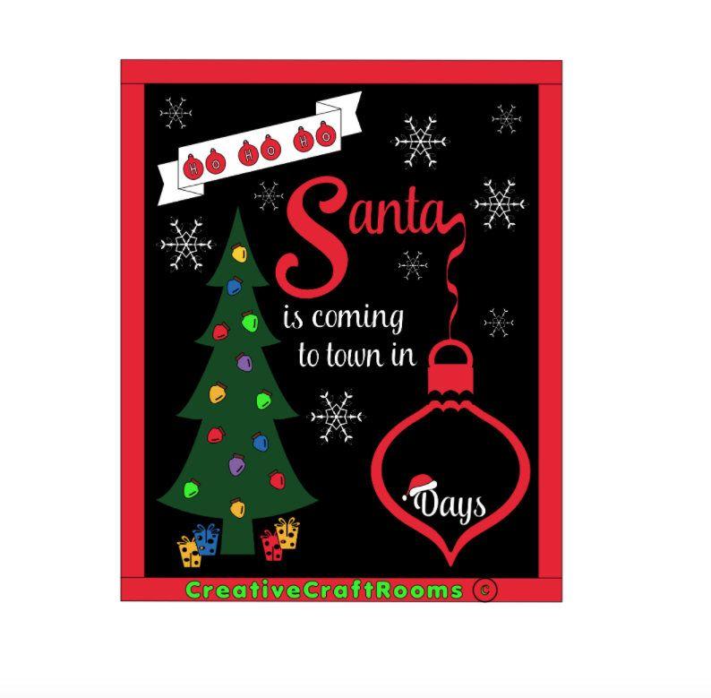 Christmas Countdown Sign, Christmas Countdown Chalkboard