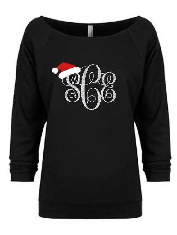 Custom Christmas Sweaters.Christmas Hat Monogrammed Women S Slouchy Shirt Holiday