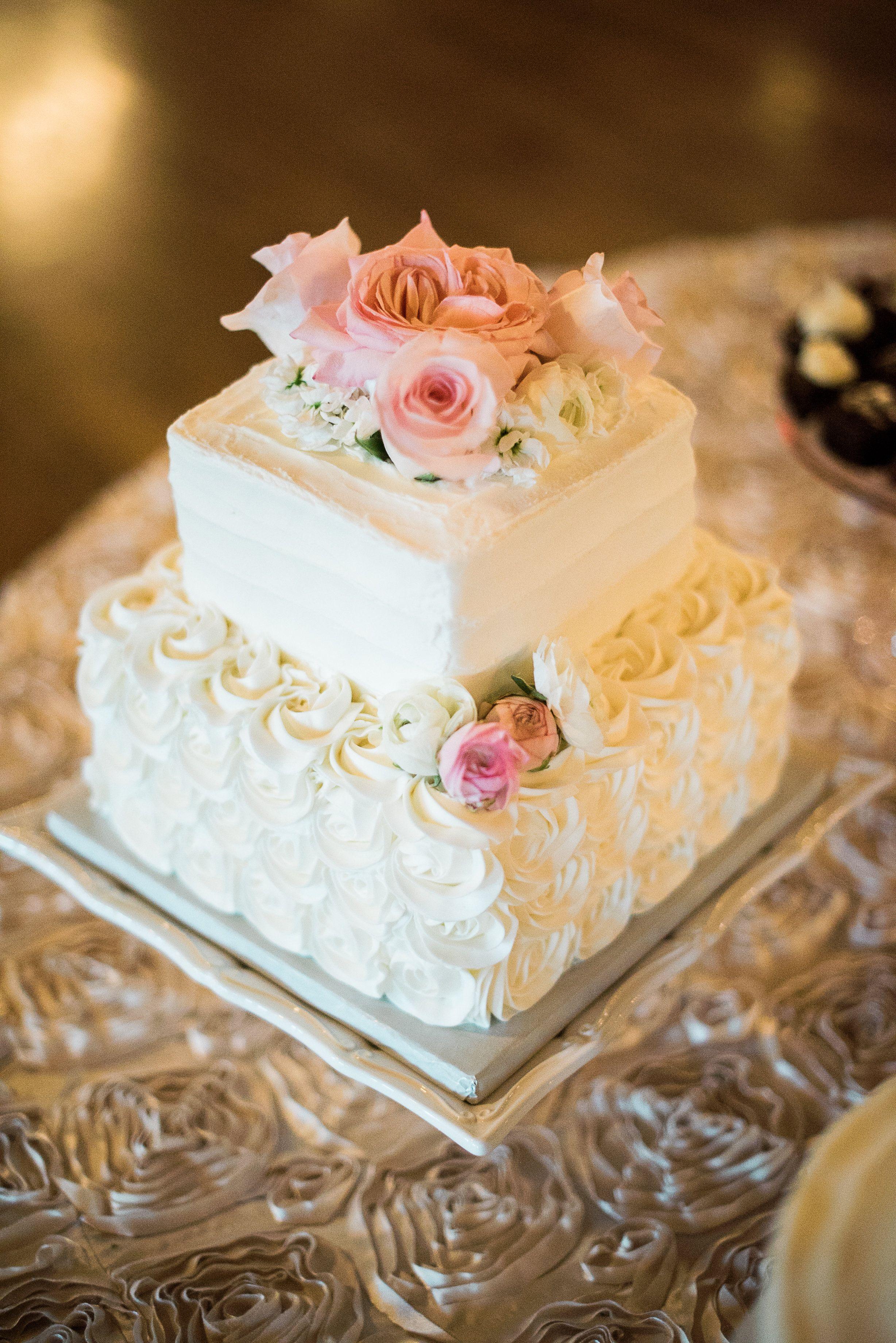 Two-Tier Square White Wedding Cake