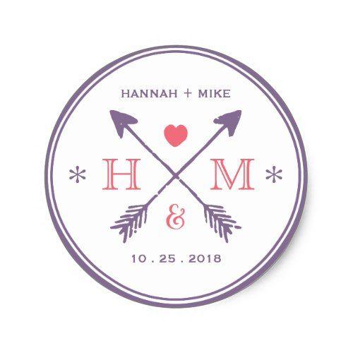 Rustic Heart Arrow Wedding Favor Monogram Sticker