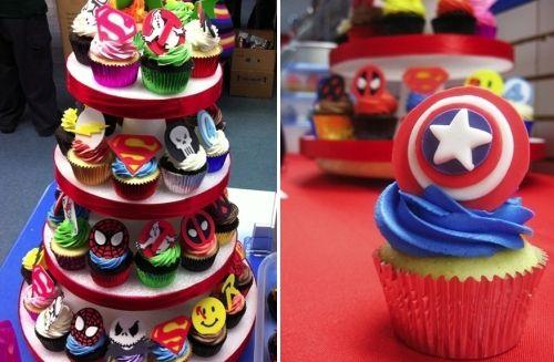 Pastelitos (Cupcakes) inspirados en películas - Superman, Spider-man, Los cazafantasmas (Ghostbusters), Watchmen, Punisher, Capitán América...