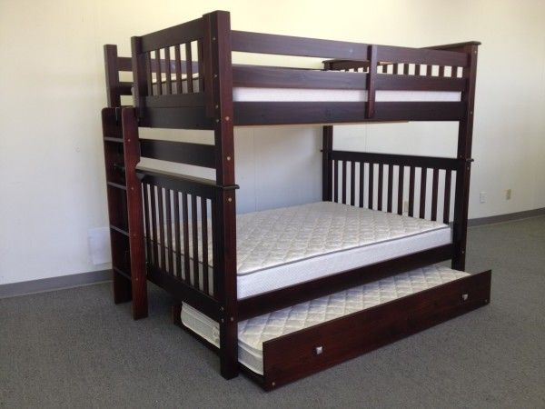 Bunk Bed Full over Full Side Ladder Cappuccino with Trundle delivered for only $656
