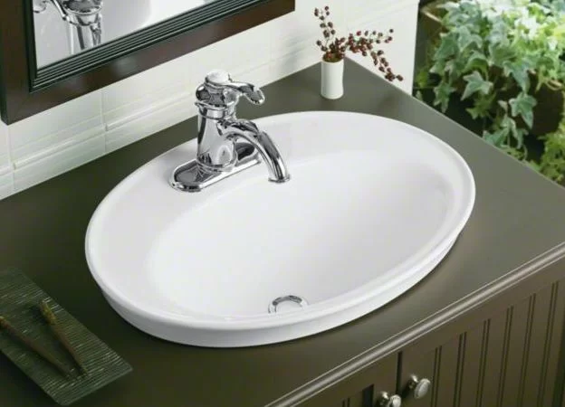 Serif Ceramic Oval Drop In Bathroom Sink With Overflow Drop In Bathroom Sinks Bathroom Sink Sink