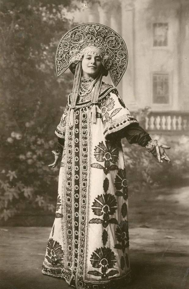 Anna Pavlova in a beautiful costume for a Russian dance. http://www.independent.co.uk/arts-entertainment/theatre-dance/features/picture-preview-anna-pavlova-twentieth-century-ballerina-7873178.html?action=gallery=5