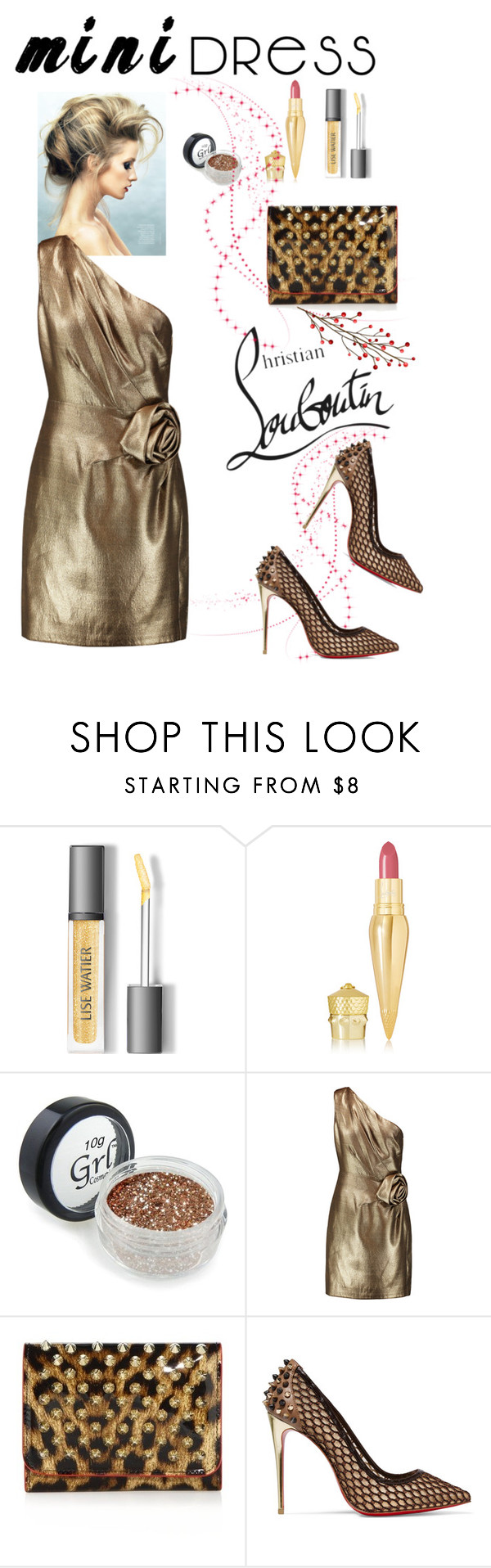 """""""Mini Dress"""" by belladonnasjoy ❤ liked on Polyvore featuring Christian Louboutin, Lumière, Halston Heritage and minidress"""