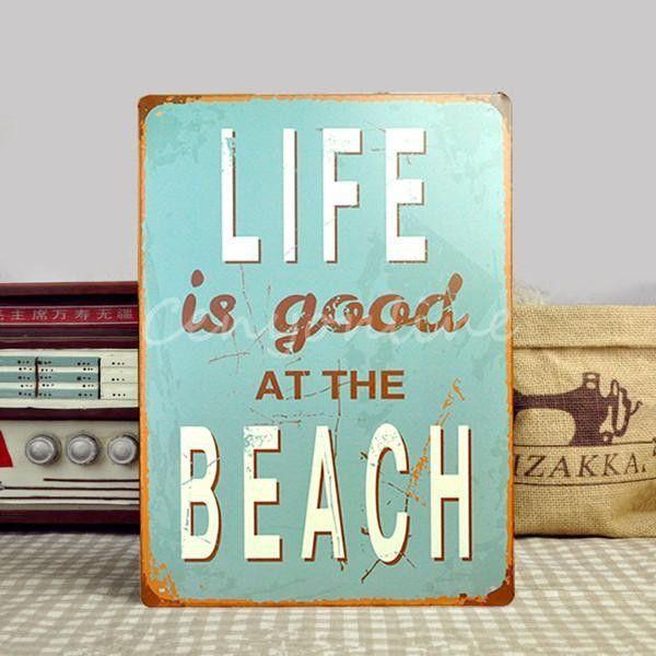 Life Is Good At Beach marine tin metal sign decorative accessories