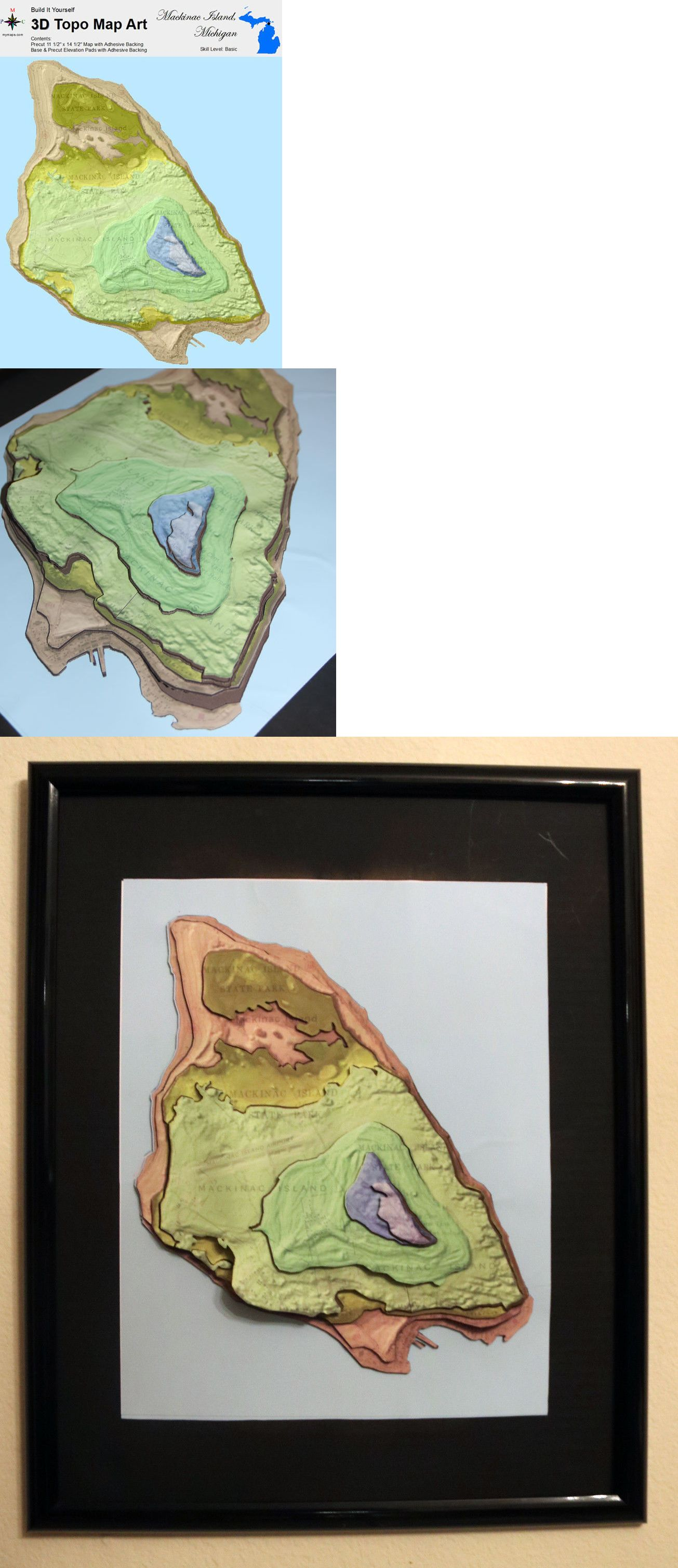 Other Models and Kits 774 3D Topographic Map Art Mackinac Island