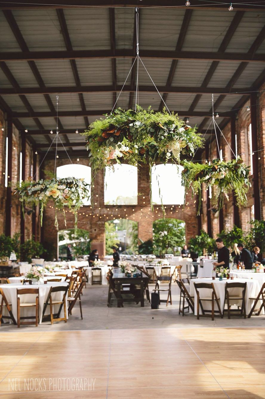 Blush And Champagne Hanging Centerpieces Over Dance Floor At Outdoor Wedding The Wyche Pavilion