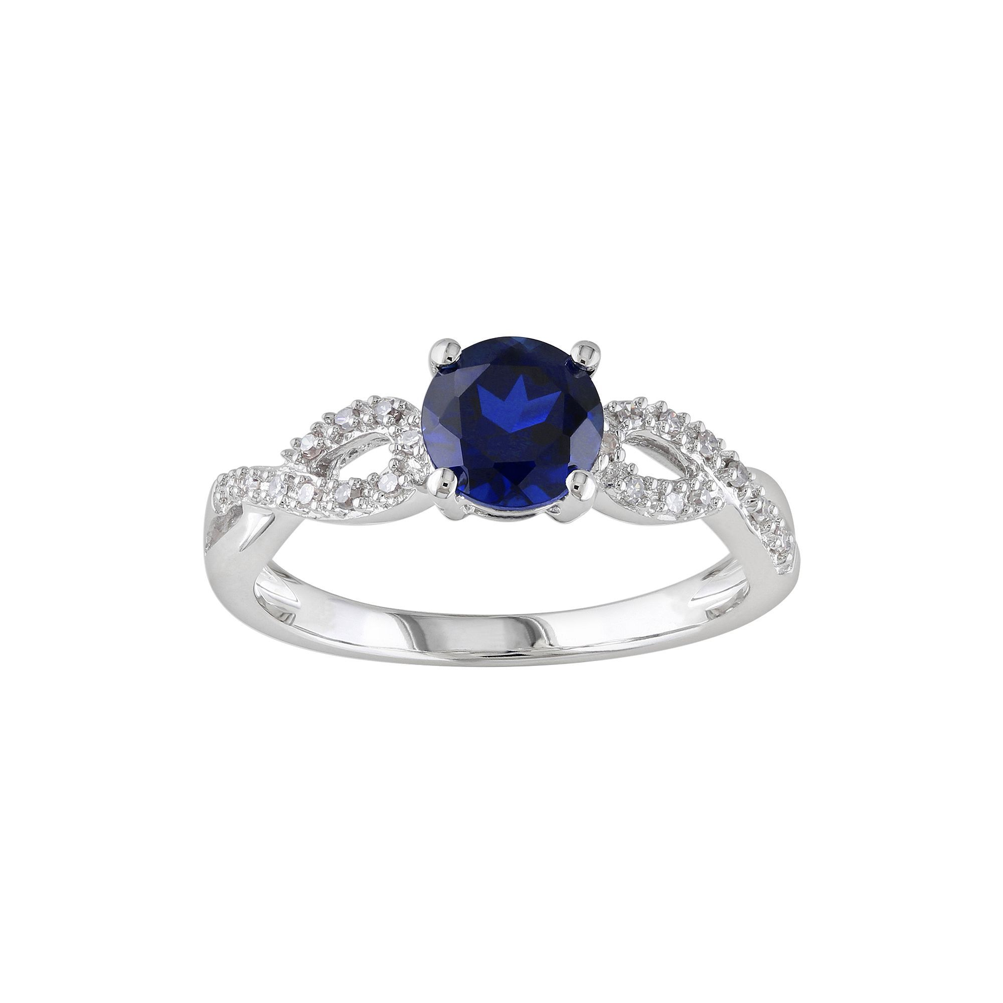 sapphire diamond lab created accent engagement ring silver and rings bypass pin sterling