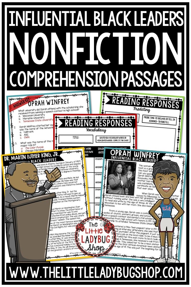 Grow Your Students Knowledge Of Influential Black Leaders With These Nonfiction Read Reading Comprehension Passages Reading Comprehension Comprehension Passage [ 1152 x 768 Pixel ]