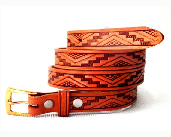 Aztec Belt Geometric Design Tooled Leather by Fred Harvey