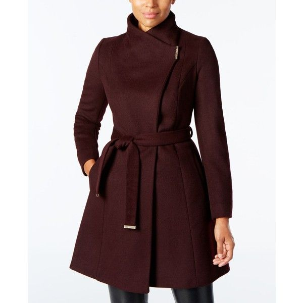 b1e09c0986f6e Michael Michael Kors Wool-Blend Belted Walker Coat ( 180) ❤ liked on  Polyvore featuring outerwear