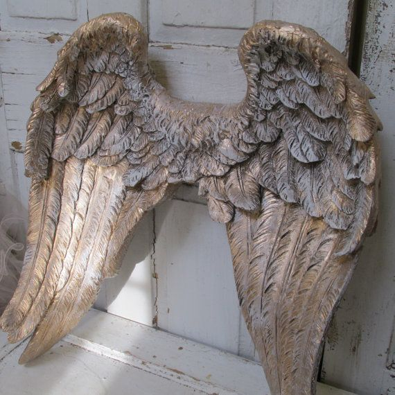 Large metal Angel wings wall decor, distressed gold, ivory ...