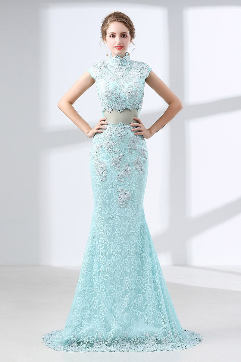 Modest mermaid lace aqua prom dress long in piece style ch
