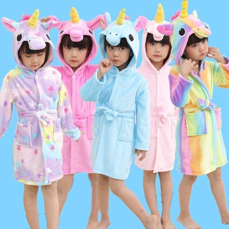 Kids Girls Soft Unicorns Bathrobes,Girls Bathrobe Fleece Sleepwear Unicorns for Gifts
