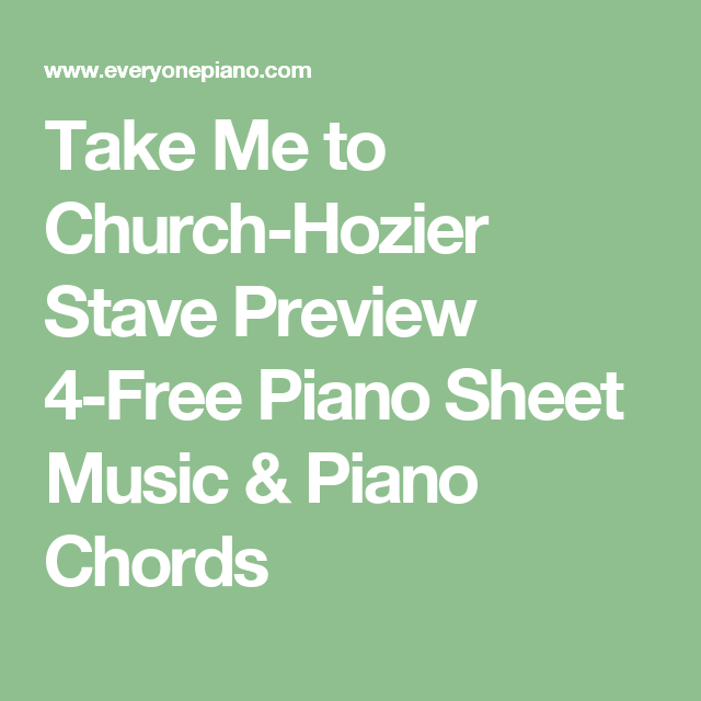 Take Me to Church-Hozier Stave Preview 4-Free Piano Sheet Music ...