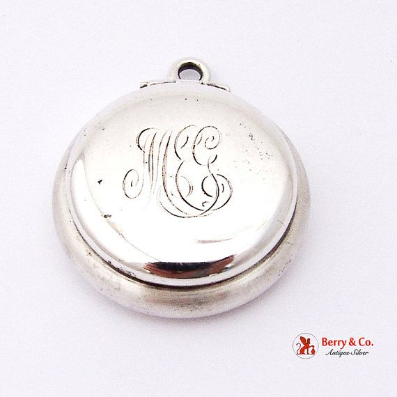 Marvelous sterling silver circular lidded pillbox pendant marvelous sterling silver circular lidded pillbox pendant monogrammed meg in ornate period script aloadofball Choice Image