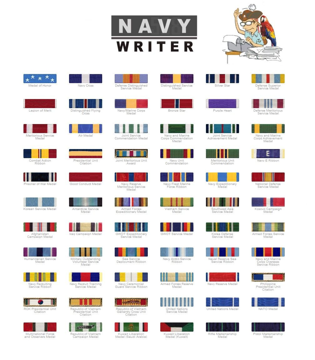 In addition to my medals, I'm authorized to wear the Navy ...