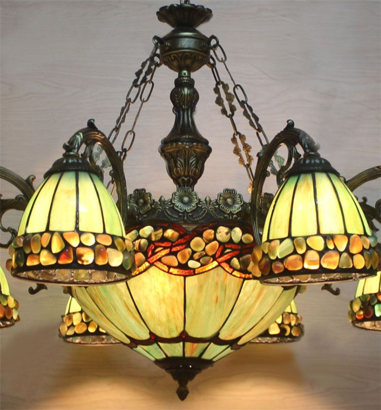 FUMAT Stained Glass Chandelier European Style Indoor Tranditional Glass  Light Dining Room Hanging Lamp Pendientes Lustre