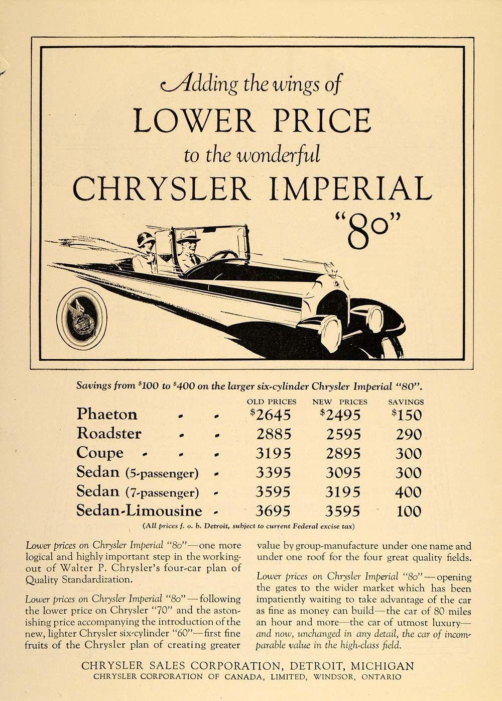 1926 Vintage Ad Chrysler Imperial 80 Auto Car Prices - ORIGINAL ...