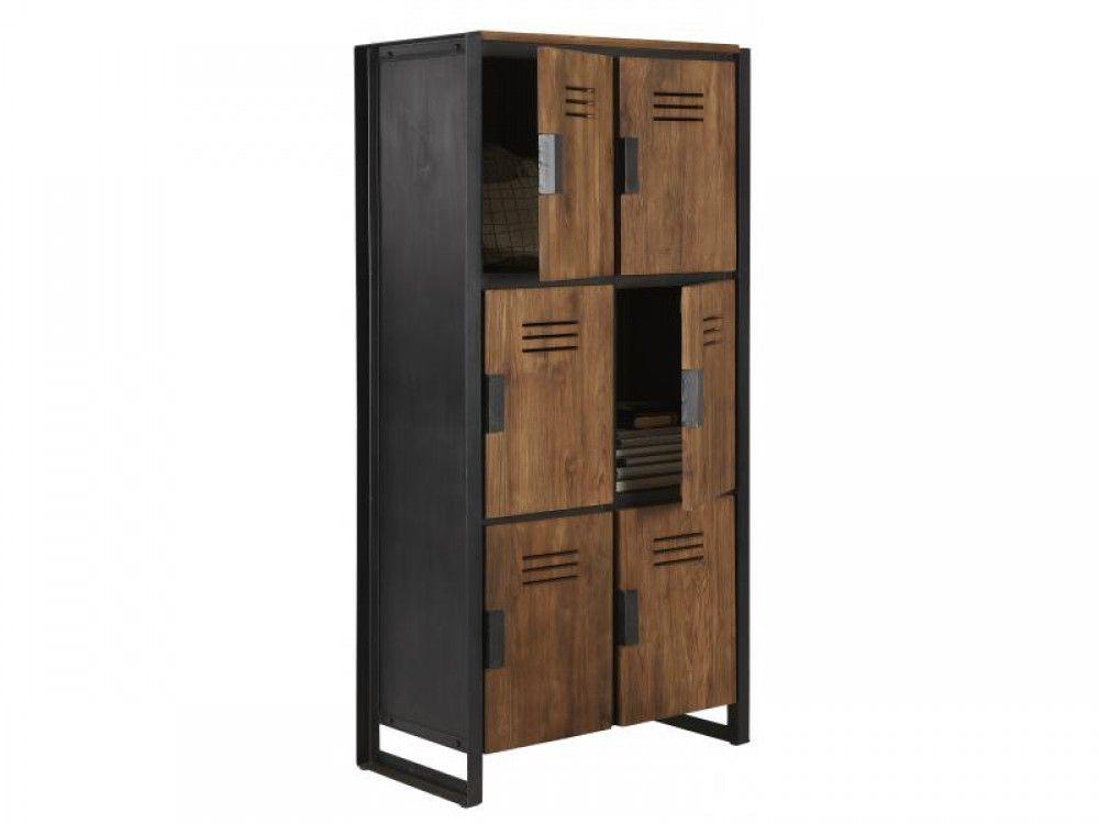 Schrank im Industriedesign, Kleiderschrank mit sechs Türen