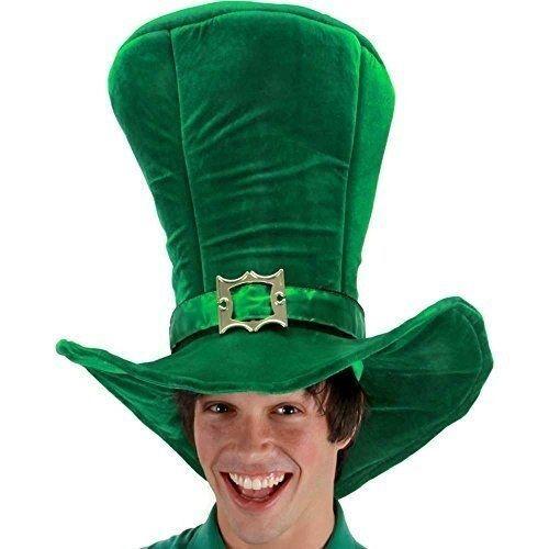 261f631ed4a Tall Green Leprechaun Hat St Patricks day Plush Top Hat Irish Tophat Costume