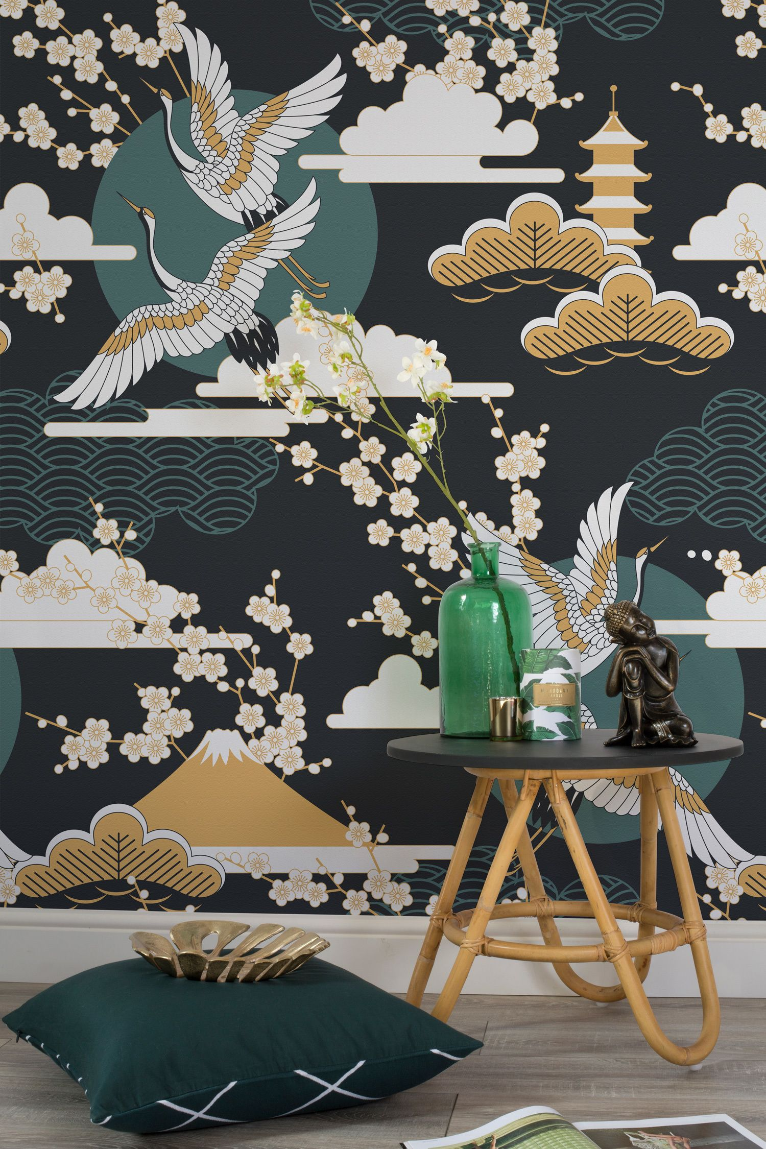Dark sky oriental wallpaper dark walls wallpaper murals for Asian mural wallpaper