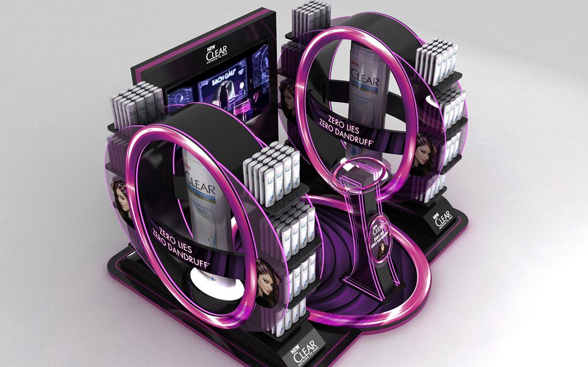 Clear display on behance display pop display creative