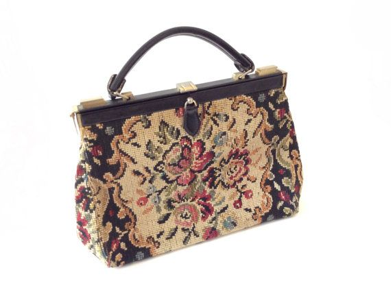 1960s Lovely Boho Tapestry Hand BagFrench TapestryVintage IYWDHE92