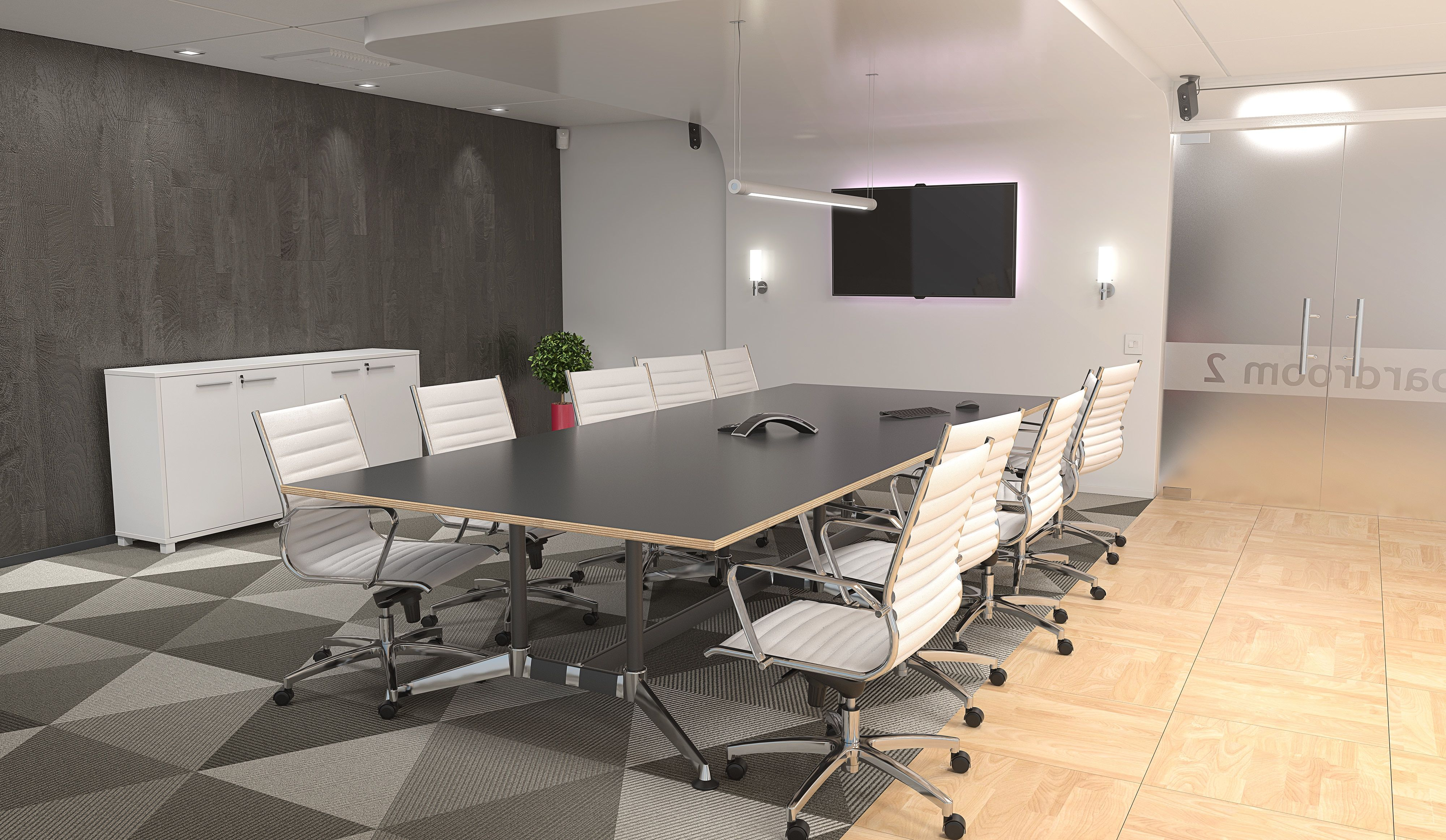 Boardroom table with a black table and white executive