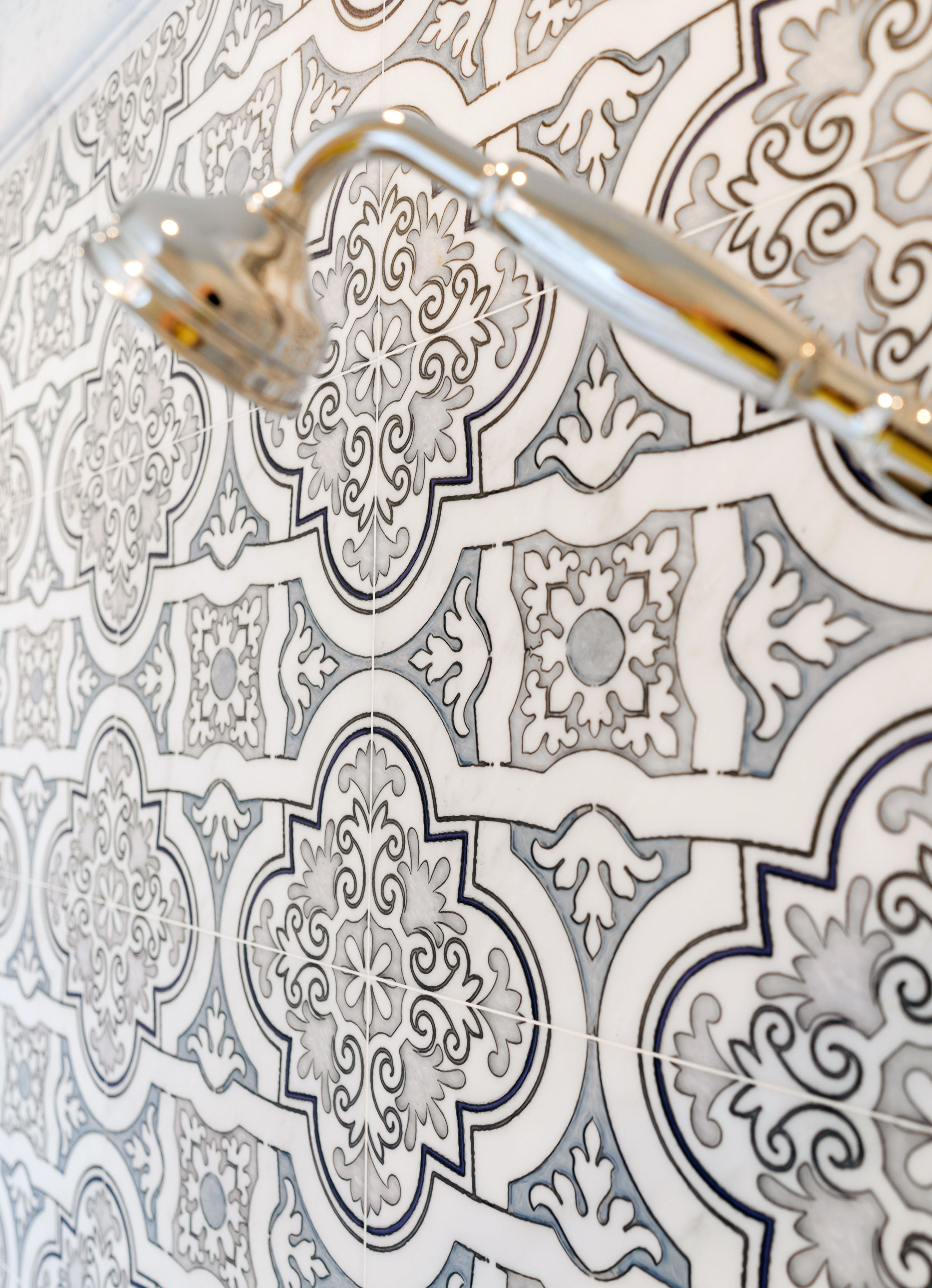 Weave pattern honed in a mesh on unfinished furniture bathroom vanity - The Lena Pattern On Carrara Marble Is A Classic And Versatile Design That Can Work In Any Room Of The House Use This Spanish Style Tile In Your Bathroom