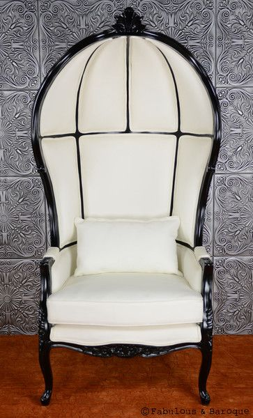 Victoire Balloon Chair - White & Black.  The Balloon Chair shape is kind of cool