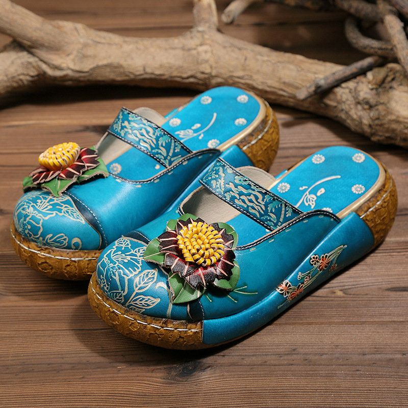 597755f14 High-quality Socofy SOCOFY Genuine Leather Retro Floral Pattern Stitching  Big Head Platform Comfortable Sandals - NewChic