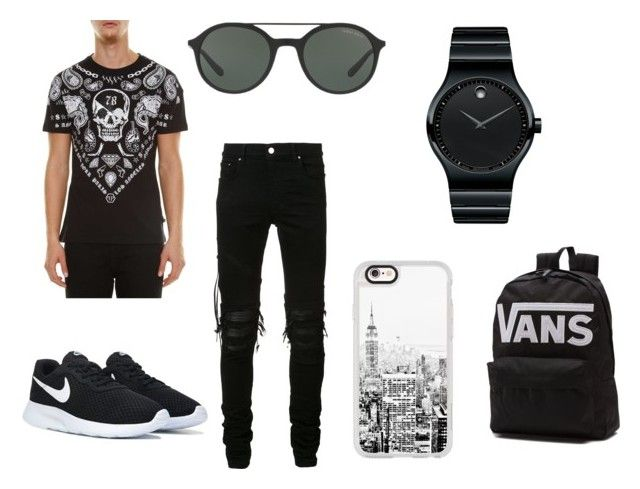 """""""Mens outfit ideas"""" by jpnotjessie ❤ liked on Polyvore featuring Philipp Plein, AMIRI, Casetify, Giorgio Armani, Vans, Movado, men's fashion and menswear"""